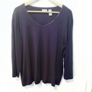🌼Chico's Size 16 Plum Colored Top 3/4 Sleeves